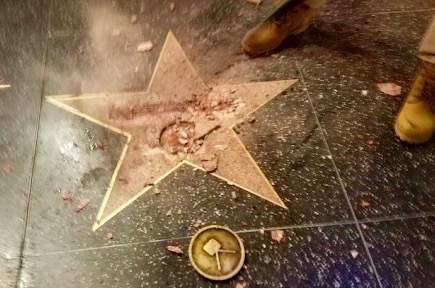 Donald Trump's defaced star on the Hollywood Walk of Fame (Dominic Patten/Deadline)