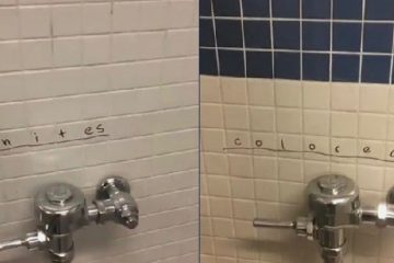 Graffiti on bathrooms at California High School in San Ramon, Calif.