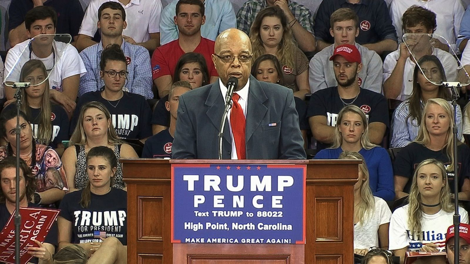 Clarence Henderson speaks at a rally for Donald Trump