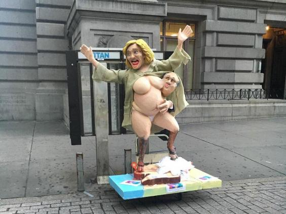Naked Hillary Clinton statue in New York