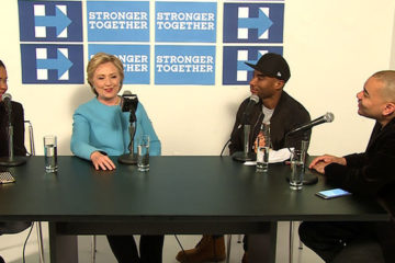 Hillary Clinton with (L-R) Charlamagne Tha God, Angela Yee and DJ Envy of The Breakfast Club (New York, Oct. 26, 2016)