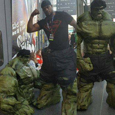 A hunky Hulk before and after at New York Comic Con.
