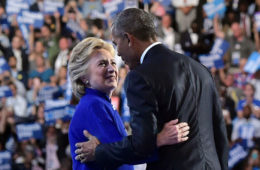 Hillary Clinton joins President Obama after his address at the Democratic National Convention. (AFP