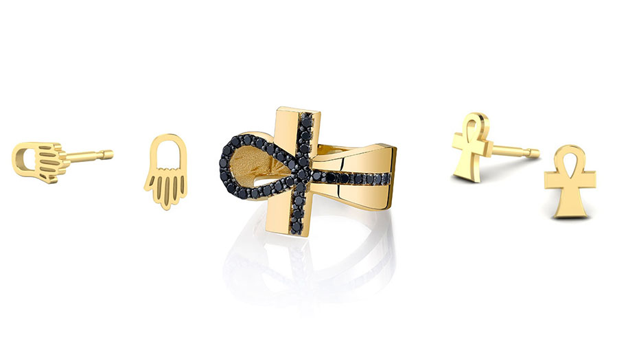 From left: A hamsa stud (from $95), a black diamond ankh ring (from $150) and a ankh stud (from $95) from the Rashida Jones x Iconery collection.