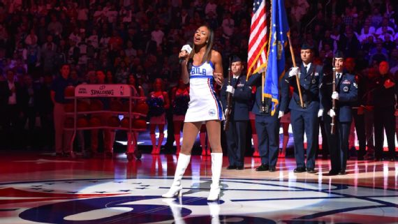 "The Sixers had a member of their dance team sing the national anthem on Wednesday night. Scheduled performer Sevyn Streeter said the team blocked her from singing due to her ""We Matter"" jersey. Jesse D. Garrabrant/NBAE/Getty Images"