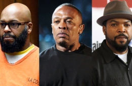 (L-R): Suge Knight, Dr. Dre and Ice Cube