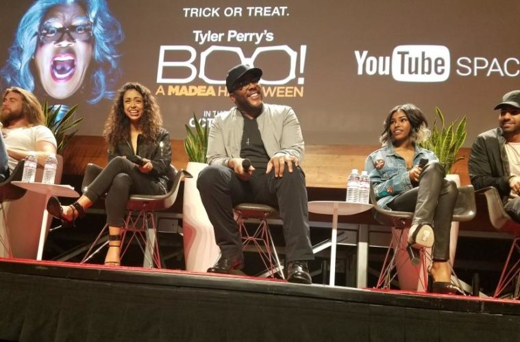 Tyler Perry & 'Boo! A Madea Halloween' Cast do YouTube Space LA Q&A