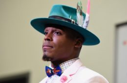 Oct 30, 2016; Charlotte, NC, USA; Carolina Panthers quarterback Cam Newton (1) in the press conference after the game. The Panther defeated the Cardinals 30-20 at Bank of America Stadium. Mandatory Credit: Bob Donnan-USA TODAY Sports