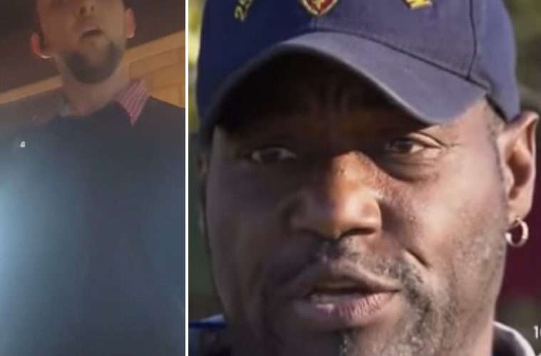 Ernest Walker (R) and the Chili's manager (L) who questioned his military service