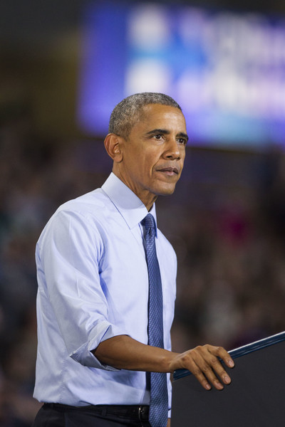 President Obama on stage during a campaign event for Democratic presidential nominee former Secretary of State Hillary Clinton at the University of New Hampshire on November 7, 2016 in Durham, New Hampshire