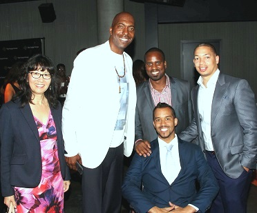 (Back row) Former NBA player John Salley, Baron Jay Littleton, Cleveland Cavaliers Head Coach Tyrone Lue and two unidentified