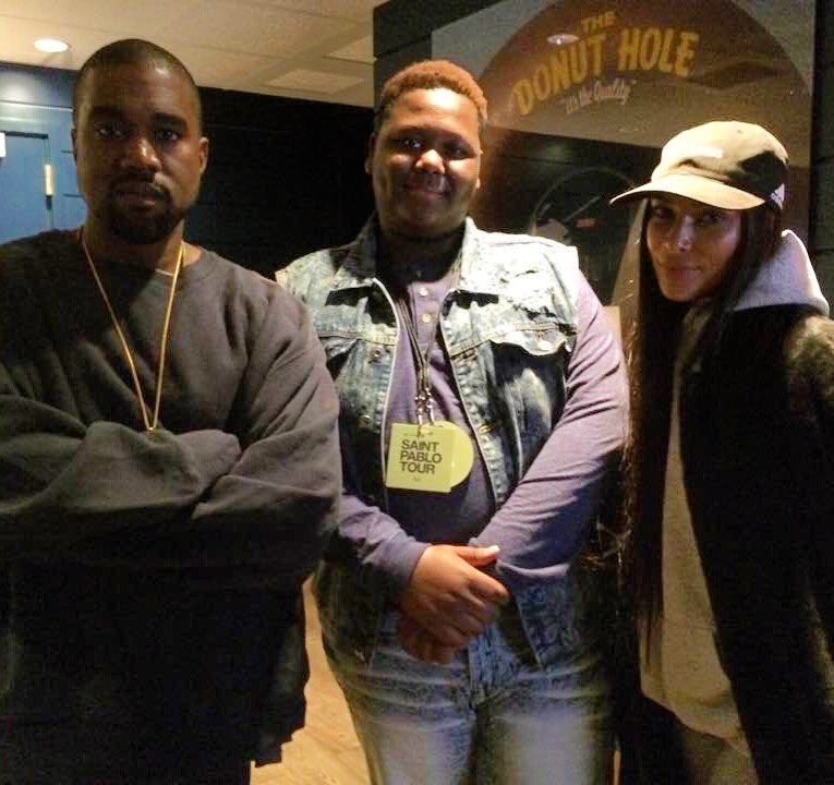 Kanye West, Cameron Sterling and Kim Kardashian West