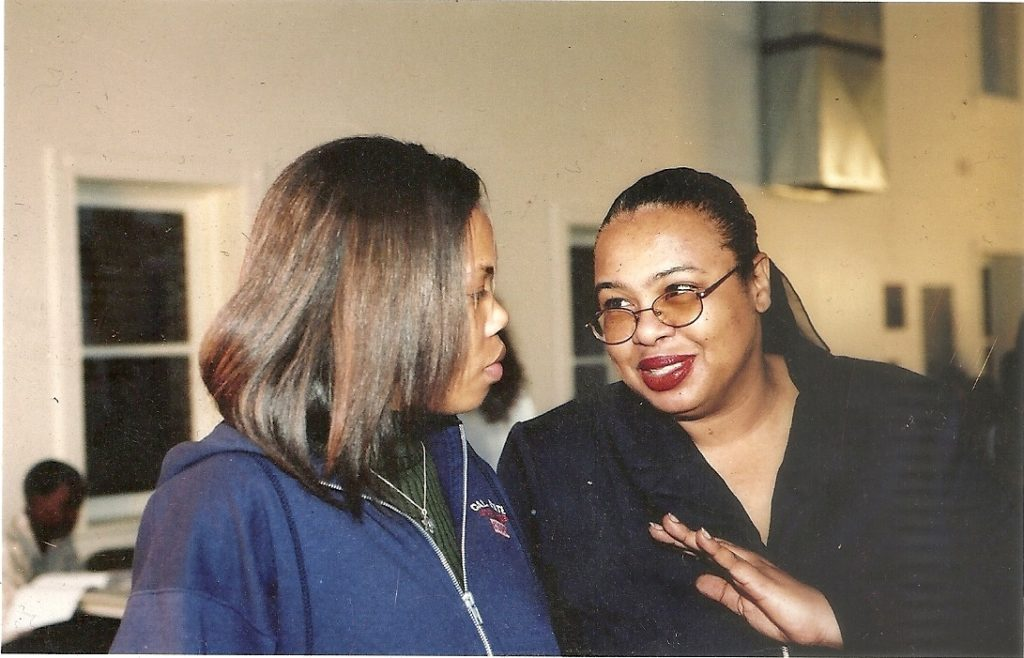 Rarely photographed Eunice Moseley is pictured in early 2000 with daughter and assistant Kerri Hobbs while coordinating a client's event in Century City near Los Angeles, California.