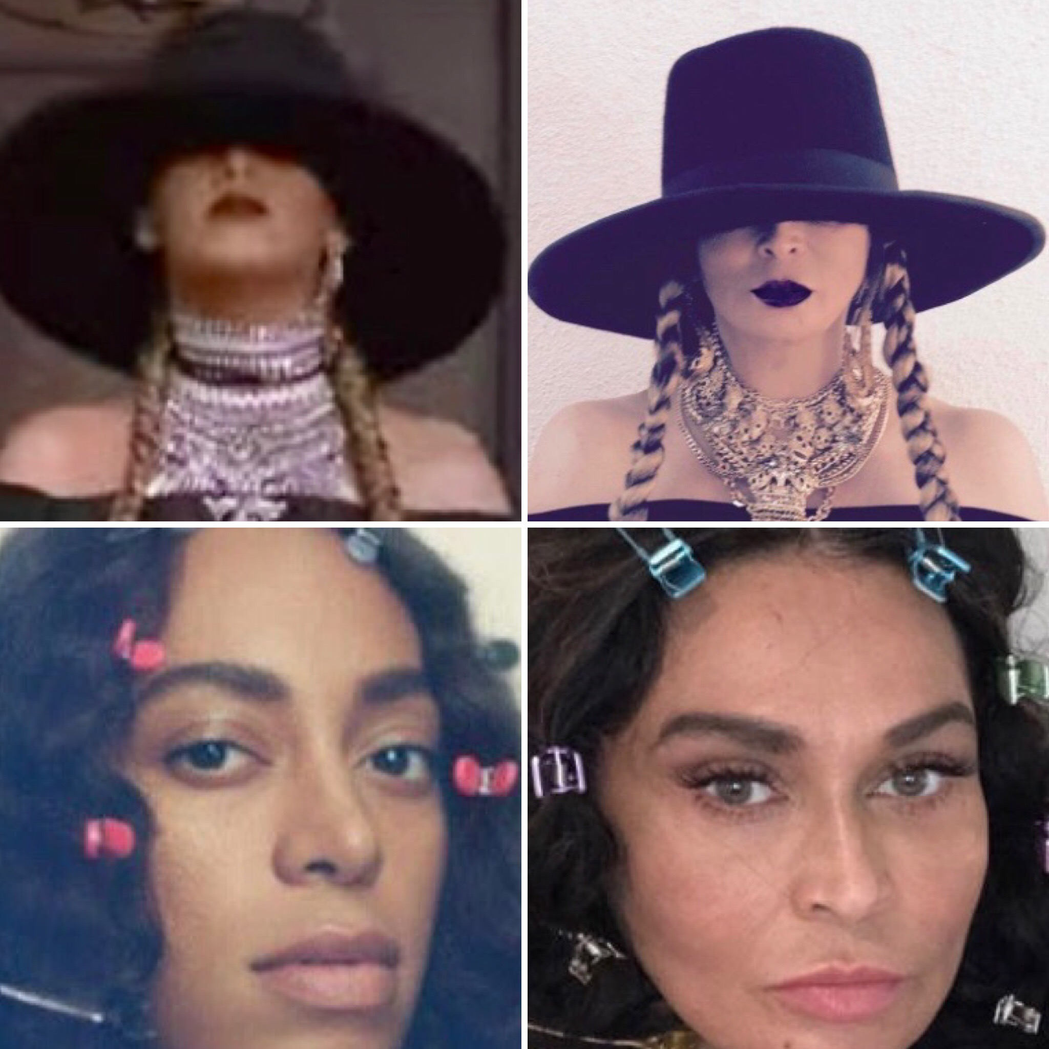 Beyonce and Solange (L) Tina Knowles-Lawson (