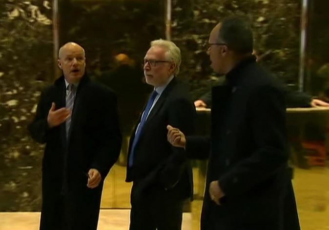 MSNBC President Phil Griffin, CNN's Wolf Blitzer And NBC's Lester Holt leave Trump Tower after meeting with President-elect Donald Trump (Nov 21, 2016)