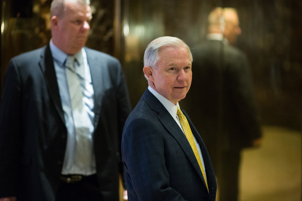 Alabama Senator Jeff Sessions arrives at Trump Tower on November 16, 2016 in New York City. . Trump is working on his his presidential cabinet as he transitions from a candidate to the president elect.