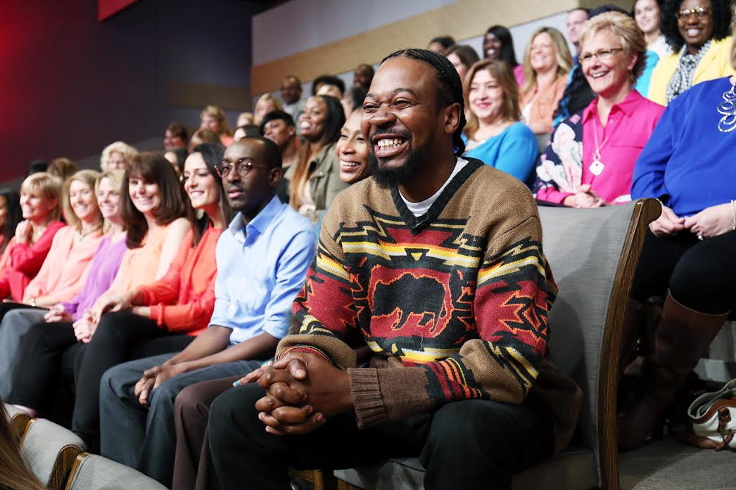 """Image #9: """"Boogie"""" (real name Darvin), who appeared as an audience member in the film """"The Original Kings of Comedy,"""" surprises the Kings by asking a question from the audience of """"Steve Harvey"""" the talk show. And yes, he's wearing the same sweater that he wore in the movie!"""