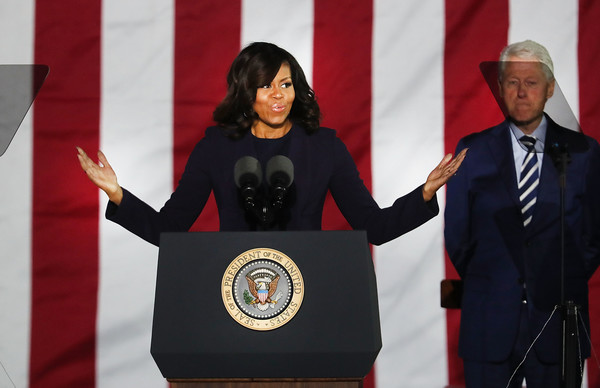 Michelle Obama speaks during an election eve rally in Philadelphia for Democratic presidential nominee former Secretary of State Hillary Clinton on November 7, 2016 in Philadelphia, Pennsylvania