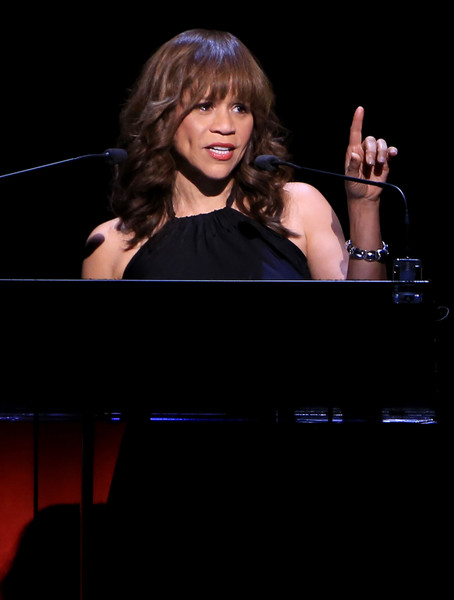 Actress Rosie Perez speaks onstage at the 2nd Annual Voices For The Voiceless: Stars For Foster Kids Benefit at the Al Hirschfeld Theatre on September 12, 2016 in New York City.