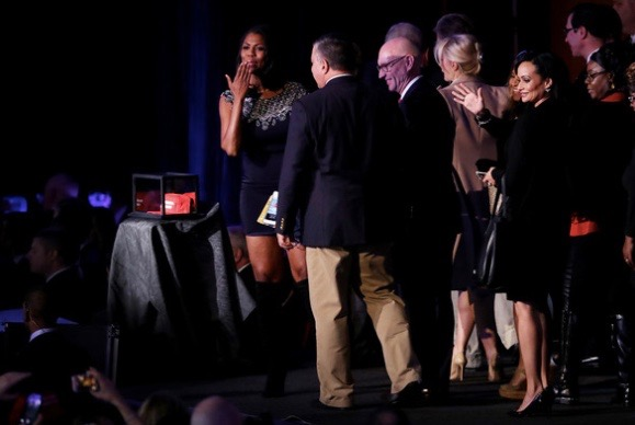 Omarosa Manigault stands on stage after Republican president-elect Donald Trump deliverd his acceptance speech at the New York Hilton Midtown in the early morning hours of November 9, 2016 in New York City.