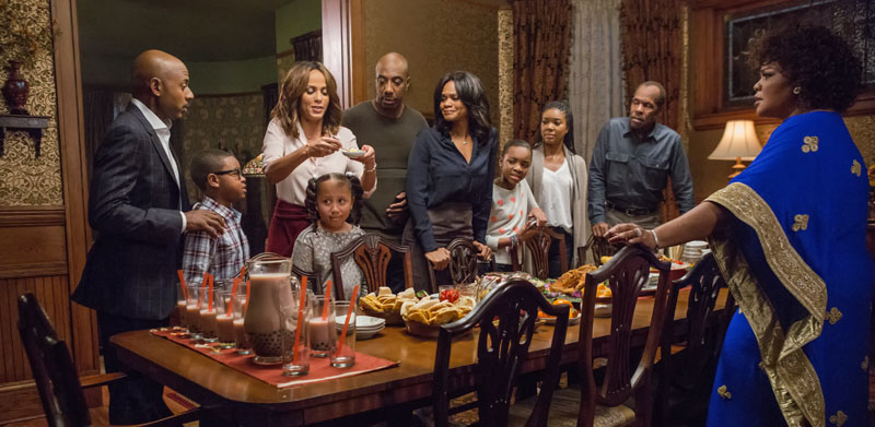 """(L-r) Romany Malco, Alkoya Brunson, Nicole Ari Parker, Marley Taylor, JB Smoove, Kimberly Elise, Nadej Bailey, Gabrielle Union, Danny Glover and Mo'Nique in """"Almost Christmas."""" (Quantrell D. Colbe/Universal Pictures)"""