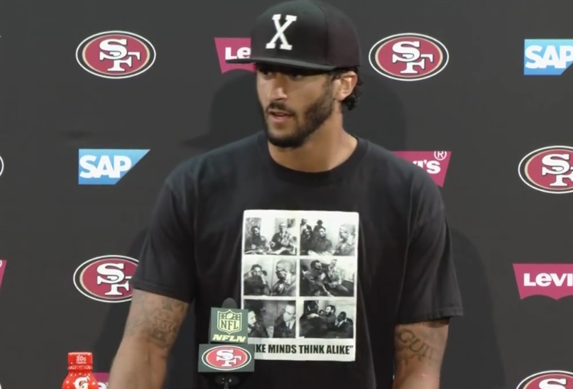 At a press conference, NFL quarterback Colin Kaepernick wore a T-shirt bearing photos of Malcolm X and communist dictator Fidel Castro.