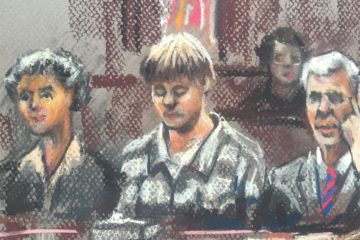 Dylann Storm Roof, center, with his lawyers, during jury selection Monday in U.S. District Court in Charleston, S.C. Robert Maniscalco