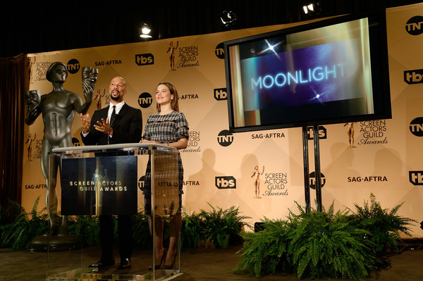 Common and Sophia Bush speak onstage during the 23rd annual SAG Awards nominations announcement at Pacific Design Center on December 14, 2016 in West Hollywood, California.