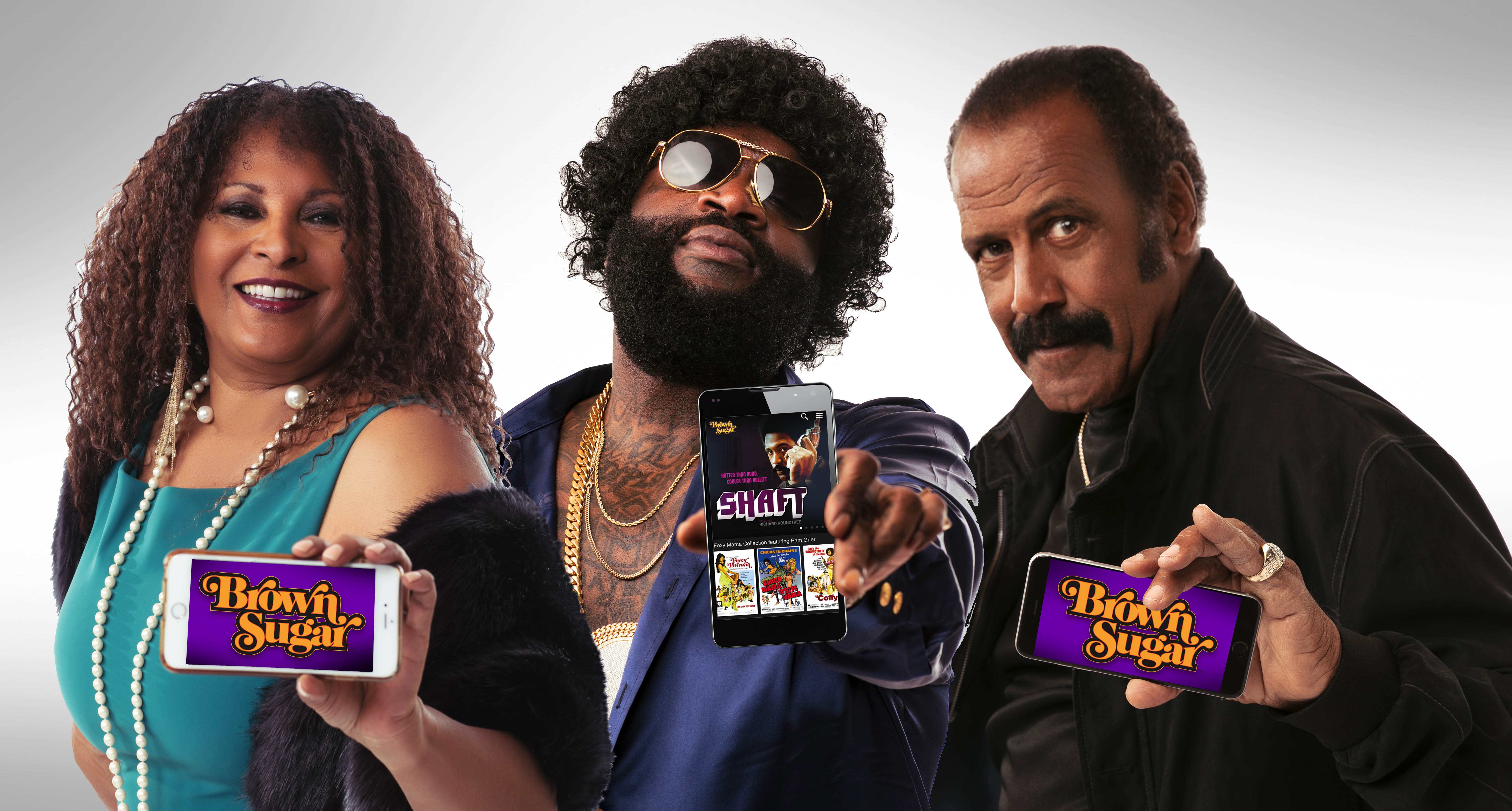 """(L-R) Pam Grier, Rick Ross, Fred """"The Hammer"""" Williamson for Brown Sugar"""
