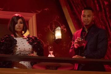 "EMPIRE: Pictured L-R: Guest star Gina Gershon and Trai Byers in ""The Unkindest Cut"" episode of EMPIRE airing Dec. 7 (9:00-10:00 PM ET/PT) on FOX. ©2016 Fox Broadcasting Co. CR: Chuck Hodes/FOX"