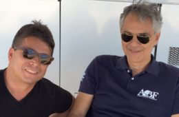 Oscar Generale enjoys a candid moment on the set with Andrea Bocelli. Generale is Executive Producer of The Music of Silence, based on the life of renown tenor Andrea Bocelli.