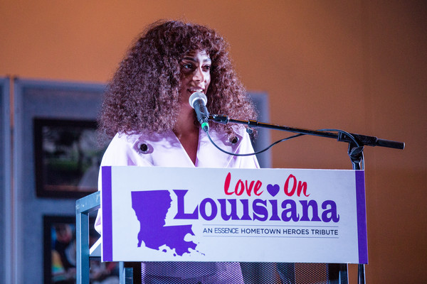 Solange Knowles speaks at Love On Louisiana: An Essence hometown heroes tribute celebrating the resilience of the Baton Rouge community with Tina Knowles-Lawson, Solange Knowles and Kelly Rowland at the Baton Rouge River Center on November 20, 2016 in Baton Rouge, Louisiana.