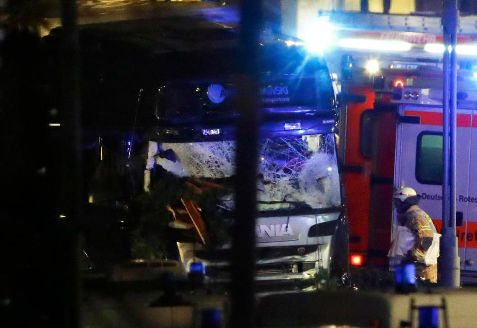 The LORRY that ploughed into a Christmas market in Berlin, killing 9 and injuring 50 others (Twitter)
