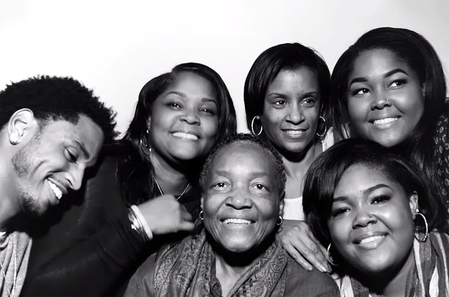 """Trey Songz (L) and his family in the music video for """"Comin' Home"""""""