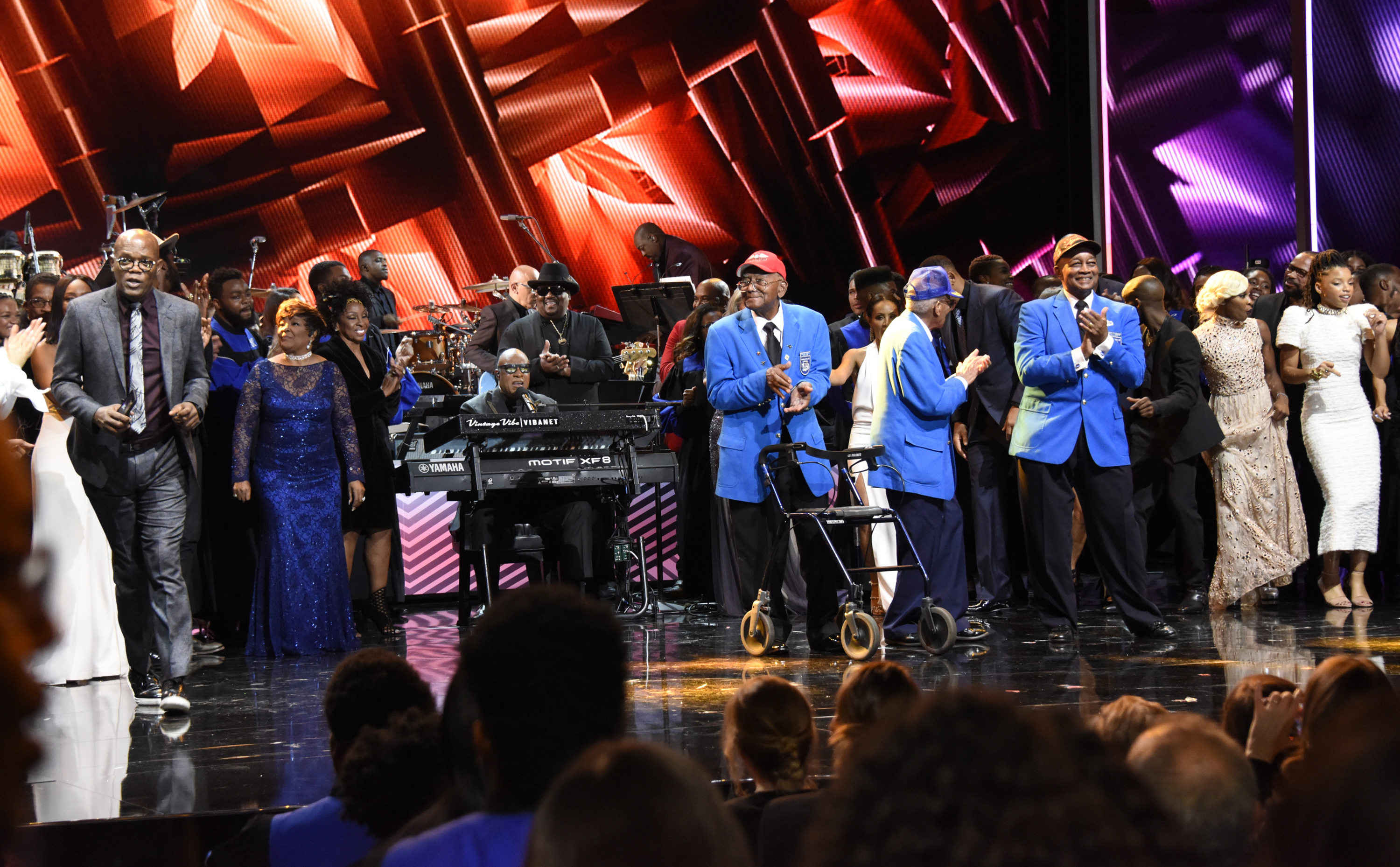 ABC Special - Taking The Stage: African American Music And Stories That Changed America: (Photo by ABC/ Ida Mae Astute) Samuel Jackson, Shirley Caesar, Gladys Knight, Stevie Wonder, Tuskegee Airmen, Cynthia Erivo