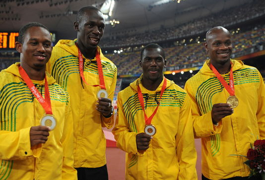 From left to right, Michael Frater, Usain Bolt, Nesta Carter and Asafa Powell at the 2008 Beijing Games