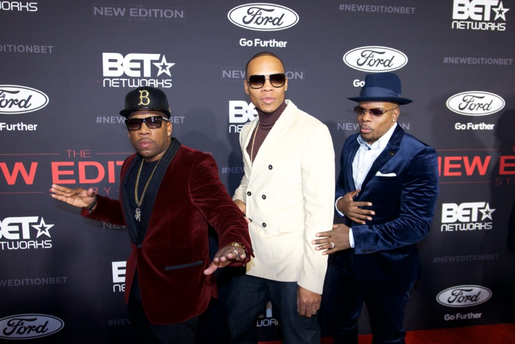 (L-R) Michael Bivins, Ronnie DeVoe & Ricky Bell at the premiere of BETs 'The New Edition Story' (Photo by Earl Gibson III/Getty Images for BET)