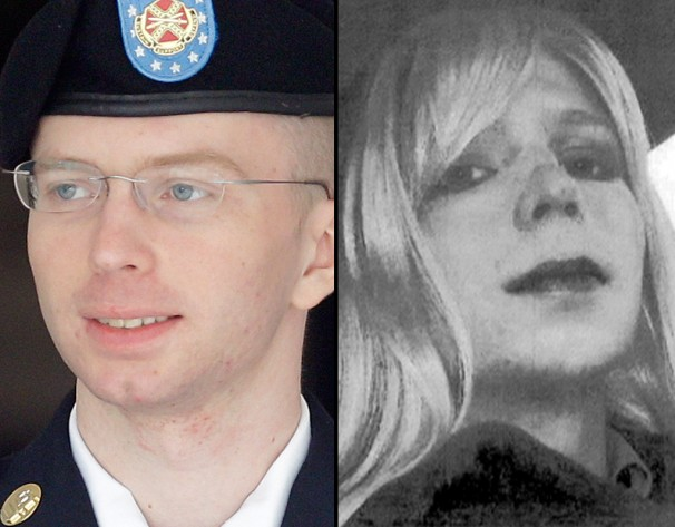 Chelsea Manning (R) after her transition from Bradley Manning (L)