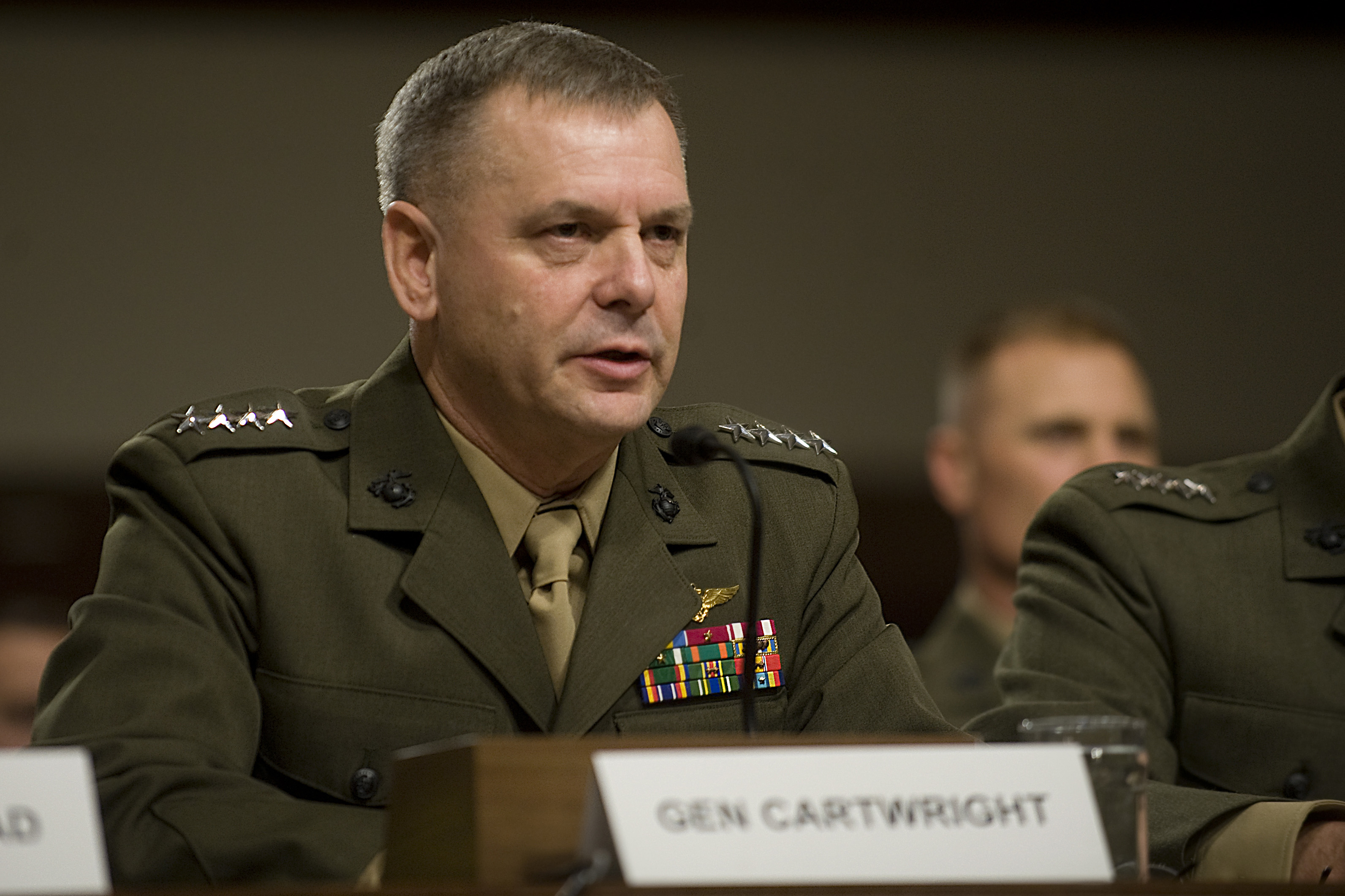"""Vice Chairman of the Joint Chiefs of Staff Gen. James Cartwright testifies on Capitol Hill before the Senate Armed Services Committee's hearing on the military's """"don't ask, don't tell"""" policy on Dec. 3, 2010."""