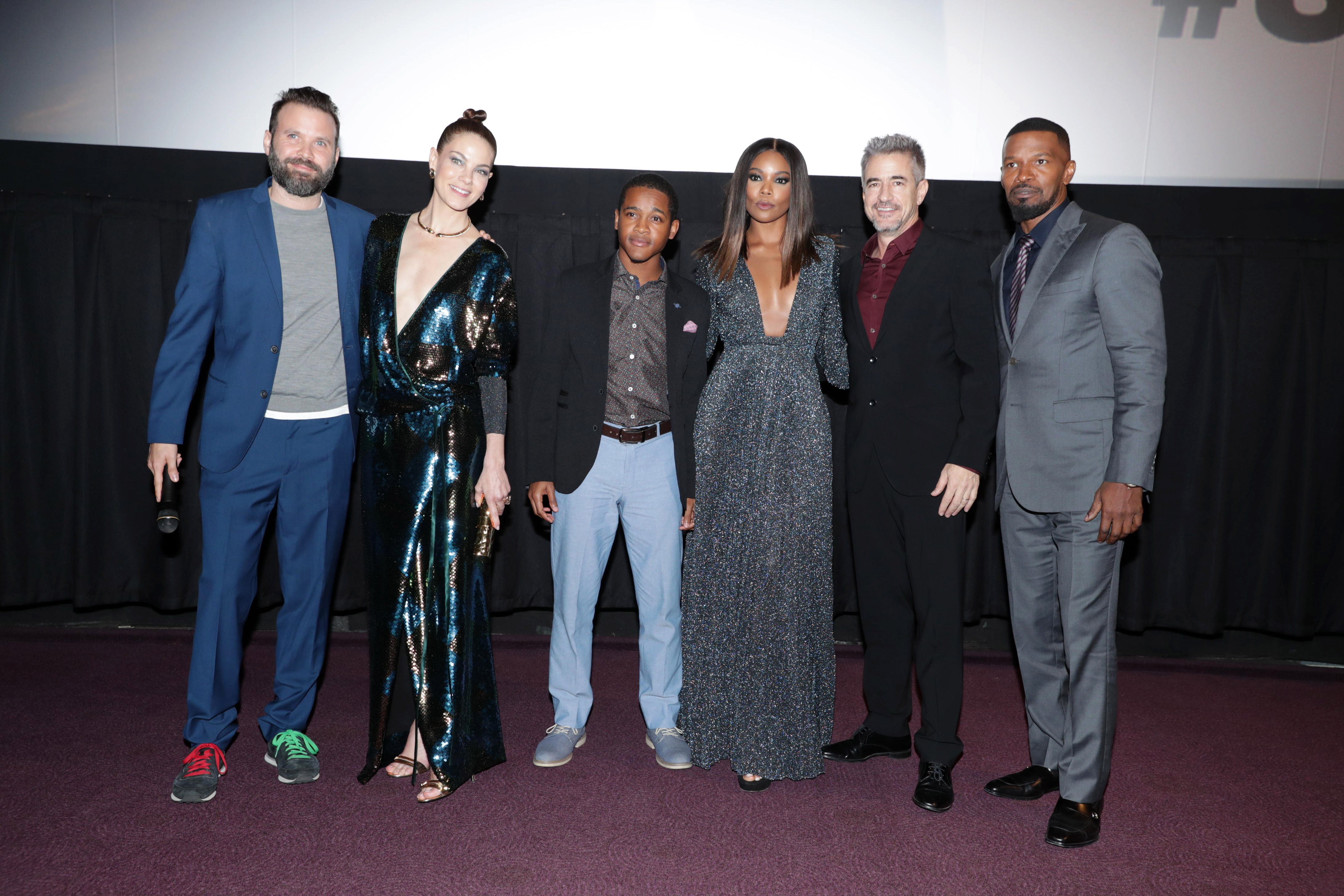 Cast of 'Sleepless' at Los Angeles premiere. Baran bo Odar (director), Michelle Monaghan, Octavius J. Johnson, Gabrielle Union, Dermot Mulroney and Jamie Foxx. (Photo by Eric Charbonneau/Invision for Open Road Films/AP Images)