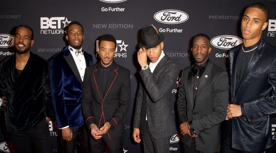 Cast of BETs 'The New Edition Story' (L-R) Luke James, Woody McClain, Algee Smith, Bryshere Gray, Elijah Kelley & Keith Powers