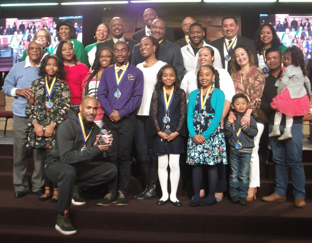 Inglewood Mayor James T. Butts, Jr., City Councilmembers, IUSD Board Members, Speech Contest Winners and their parents and Grand Marshals: Photo Credit, Ricky Richardson