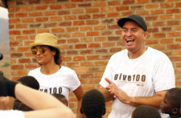 Manuela Testolini and Prince's brother Omarr Baker attend opening of Phaso School in Malawi. (Sheryl Nields)