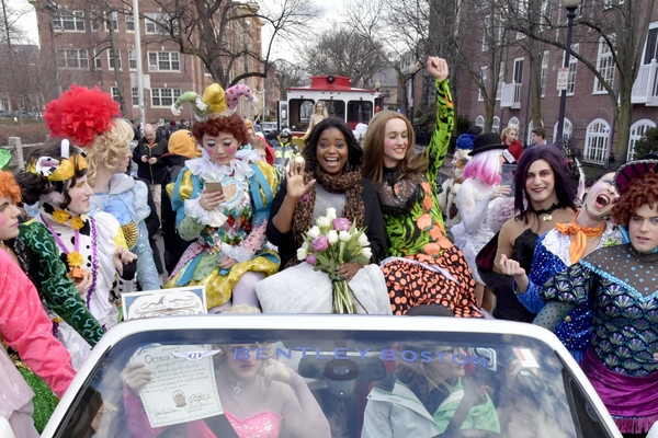 Actress Octavia Spencer rides in the lead car of the parade during the The Hasty Pudding Theatricals Celebration Honoring Octavia Spencer as 2017 Woman Of The Year on January 26, 2017 in Cambridge, Massachusetts.