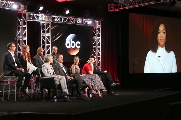(L-R) Actors Joshua Malina, Darby Stanchfield, and Joe Morton, Executive Producer Betsy Beers, actors Cornelius Smith Jr., Tony Goldwyn, Kerry Washington, Bellamy Young, and Scott Foley, and Creator/Executive Producer Shonda Rhimes of the television show 'Scandal' speak onstage during the Disney-ABC portion of the 2017 Winter Television Critics Association Press Tour at Langham Hotel on January 10, 2017 in Pasadena, California.