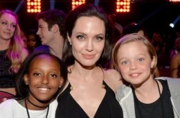 Angelina Jolie with daughters Zahara (L) and Shiloh (R) during Nickelodeon's 28th Annual Kids' Choice Awards held at The Forum on March 28, 2015 in Inglewood, California.