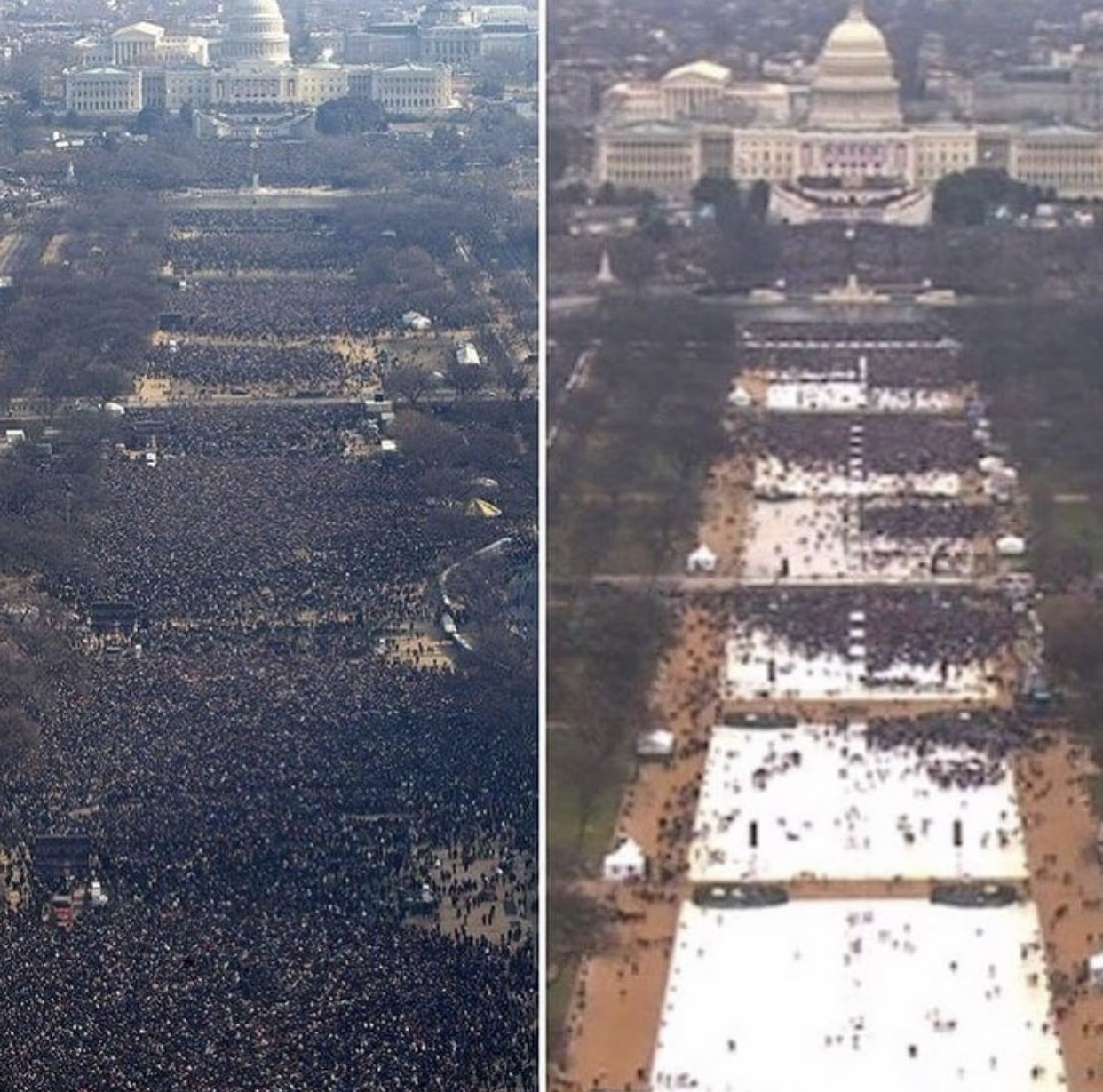 obama & trump inauguration crowds