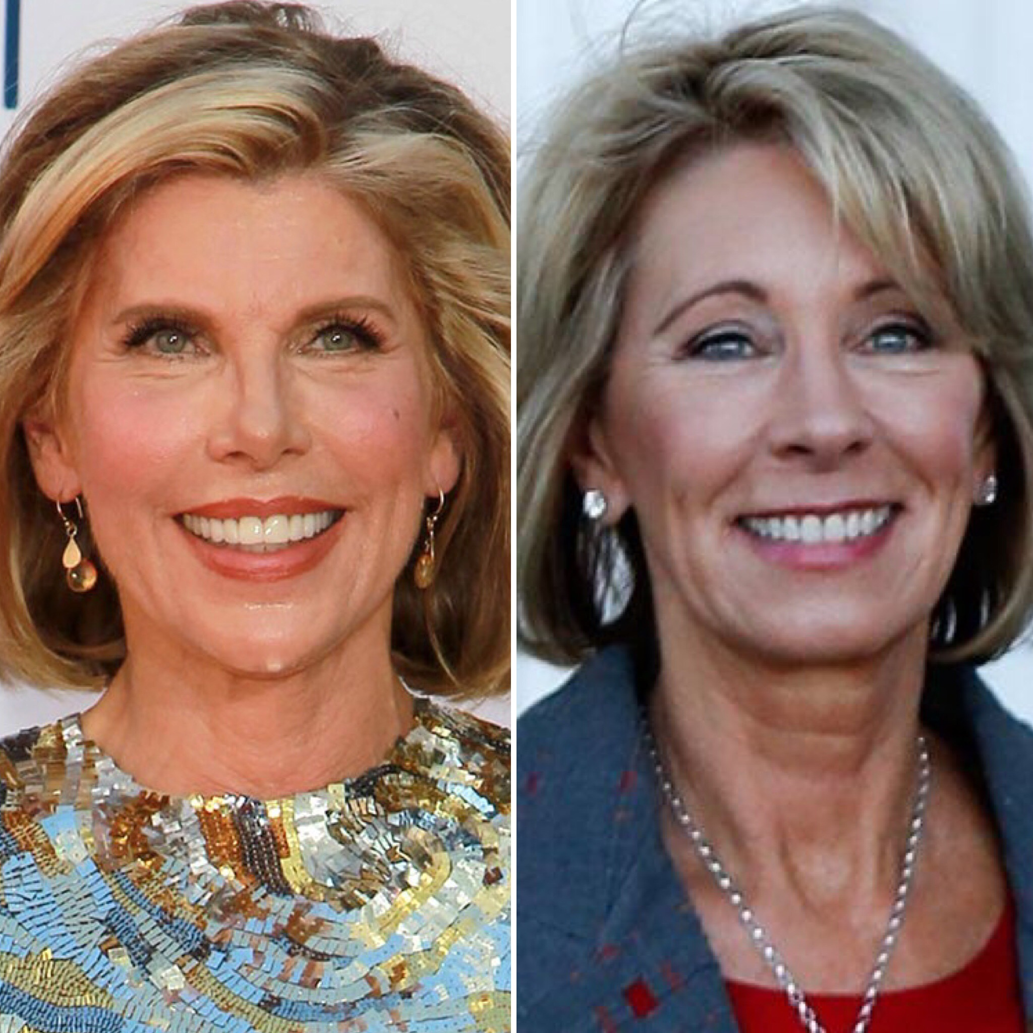 Christine Baranski (L) and Betsy DeVos