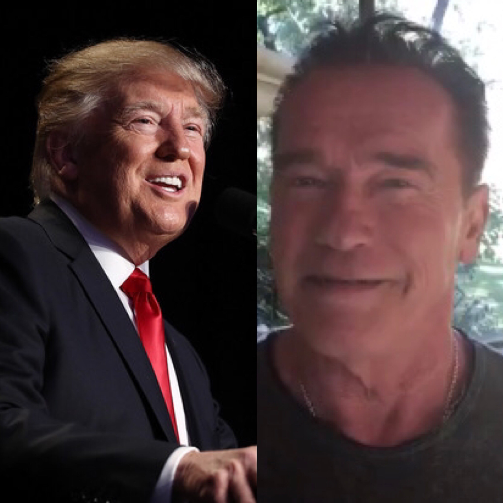 (L) President Donald Trump delivers remarks at the National Prayer Breakfast February 2, 2017 in Washington, DC; (R) Arnold Schwarzenegger (Twitter)