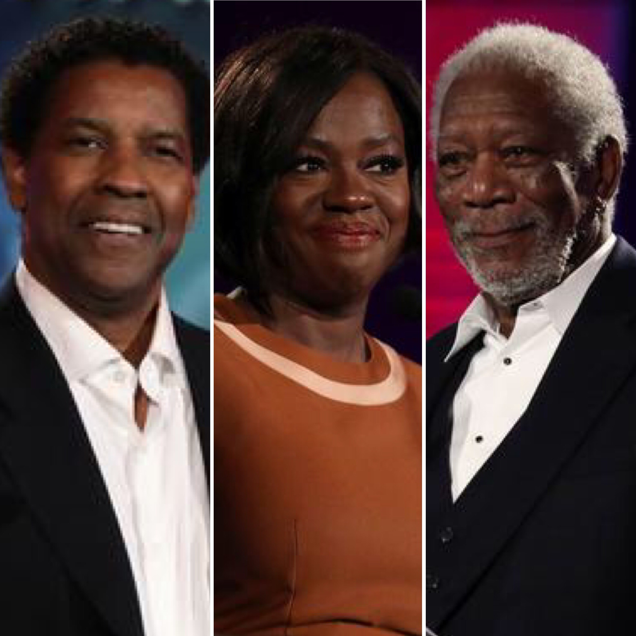 (L-R) Denzel Washington, Viola Davis and Morgan Freeman at the AARP Movies for Grownups Awards in Beverly Hills (Feb 7, 2017)